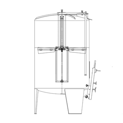 Speidel 6000L/2000 mm Diameter FD-ITTS Sealed Red Wine Fermenter w/ Interal Must Plunger and Gate-Style Manway