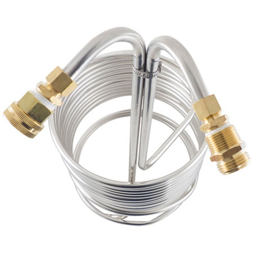 Stainless Steel Wort Chiller with Brass Fittings - 50 ft x 1/2 in