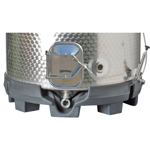 Speidel 1100L, 1000mm Diameter FO-M Variable Volume Dish Bottom Red Fermentation Tank w/ Forkliftable PF Base and Lid