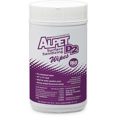 Alpet® D2 Surface Sanitizing Wipes (160 Count)