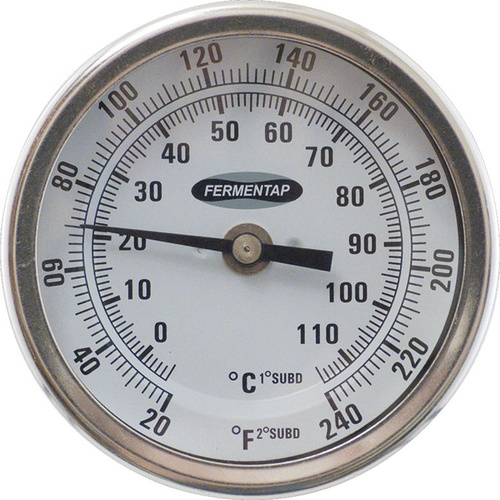 Fermentap Bi-Metal Dial Tank Thermometer (3 in Face x 2.5 in Probe)